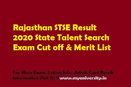 Rajasthan STSE Result 2020