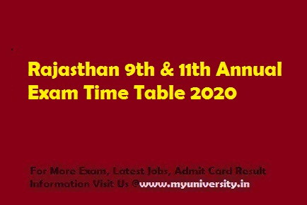 Rajasthan 9th & 11th Annual Exam Time Table 2020