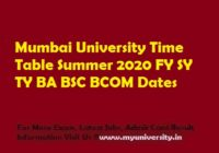 Mumbai University Time Table Summer 2020