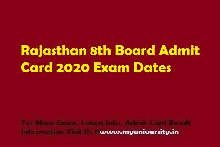 Rajasthan 8th Board Admit Card 2020
