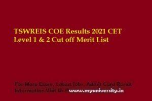 TSWREIS COE Results 2021