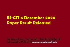 RSCIT 6 December Result 2020