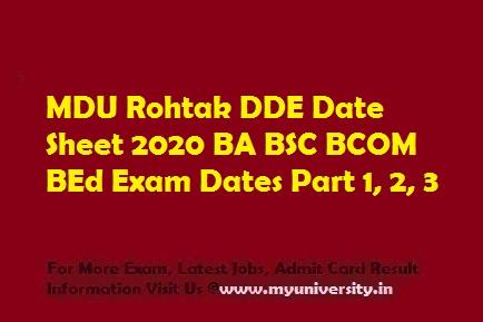 MDU Rohtak DDE Date Sheet 2020