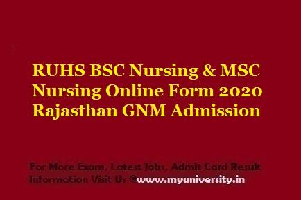 RUHS BSC Nursing & MSC Nursing Online Form 2020