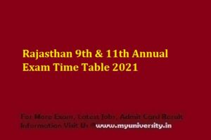 Rajasthan 9th & 11th Annual Exam Time Table 2021