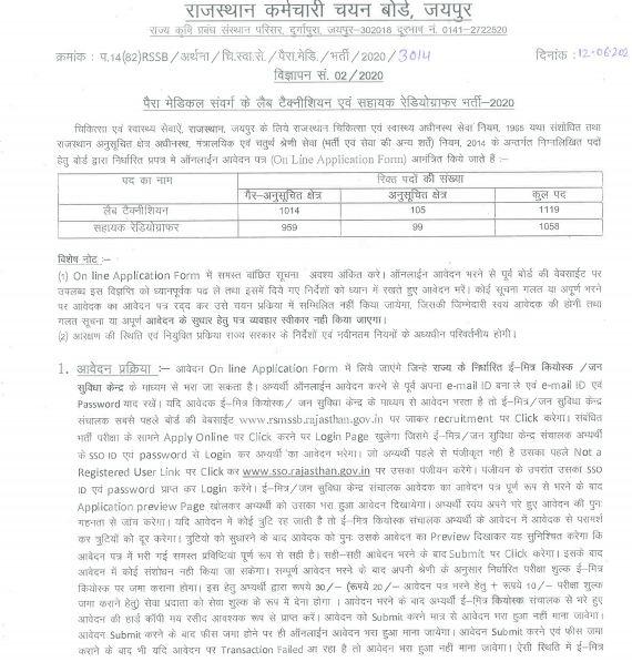 RSMSSB Rajasthan Assistant Stenographer Recruitment 2020-1058 Posts