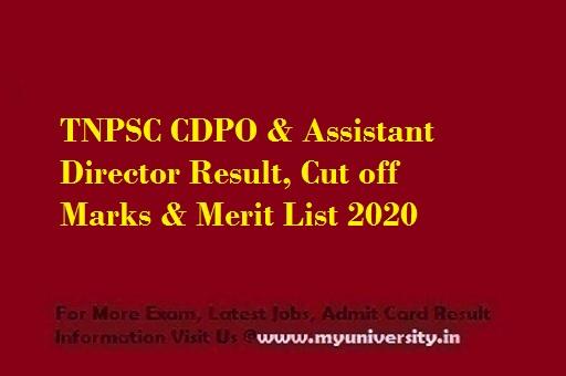 Tamil Nadu PSC CDPO & Asst Director Result, Cut off & Merit List 2020