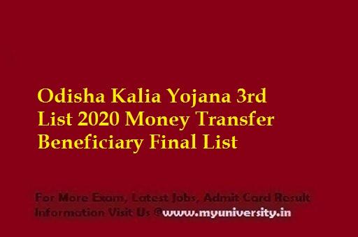 Odisha Kalia Yojana 3rd List 2020