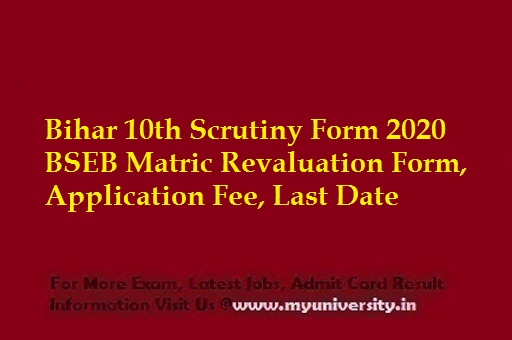 Bihar 10th Scrutiny Form 2020
