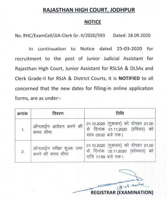 Rajasthan High Court LDC Online Form
