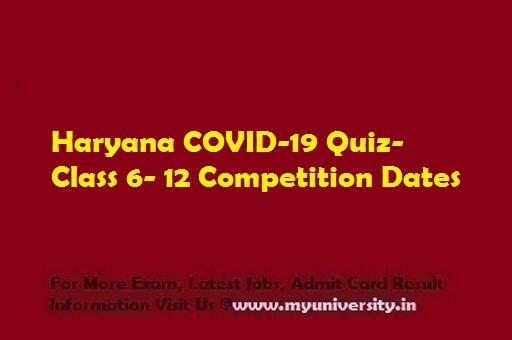 Haryana COVID-19 Quiz Class 6- 12
