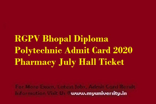 RGPV Diploma Polytechnic Admit Card 2020