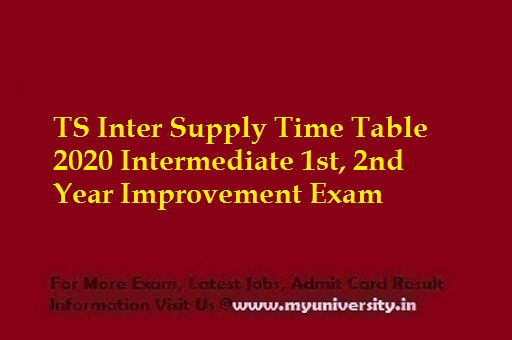 TS Inter Supply Time Table 2020