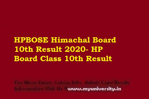 HPBOSE 10th Result 2020 Name Wise