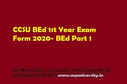 CCSU BEd 1st Year Exam Form 2020