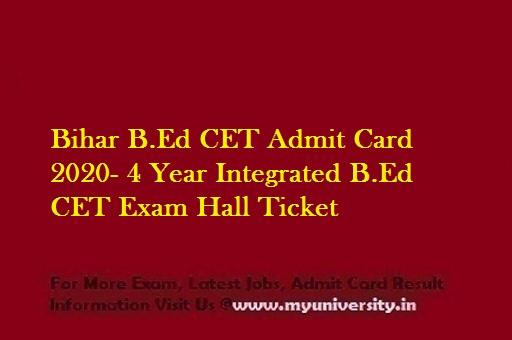 Bihar BEd CET Admit Card 2020