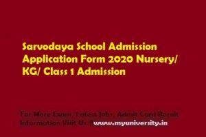 Sarvodaya School Admission Application Form 2020