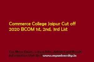 Commerce College Jaipur Cut off 2020