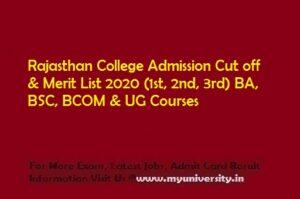 Rajasthan College Jaipur Admission Cut off List 2020