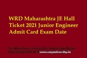WRD Maharashtra JE Hall Ticket 2021