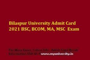 Bilaspur University Admit Card 2021