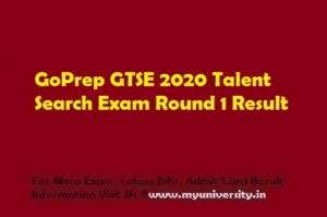 GoPrep GTSE 2020 Talent Search Exam Round 1 Result on 2nd September