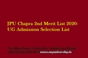 JPU Chapra 2nd Merit List 2020