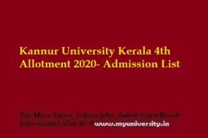 Kannur University Kerala 4th Allotment 2020