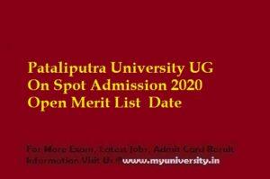 PPU UG On Spot Admission 2020 Open Merit List