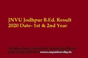JNVU Jodhpur B.Ed. Result 2020