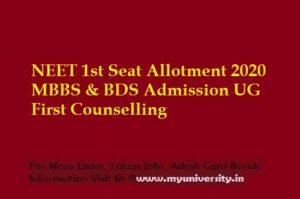 NEET 1st Seat Allotment 2020