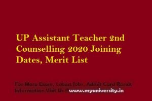 UP Assistant Teacher 2nd Counselling 2020 Joining Dates