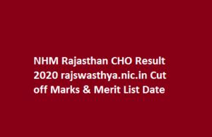 NHM Rajasthan CHO Result 2020