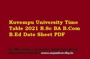 Kuvempu University Time Table 2021