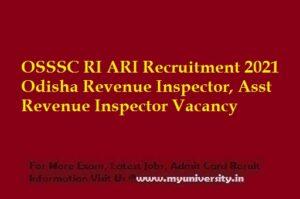 OSSSC RI ARI Recruitment 2021